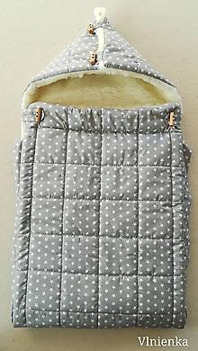 Textil - RUNO SHOP fusak pre deti do kočíka 100% ovčie runo MERINO TOP super wash Hviezdička šedá GREY - 10047902_