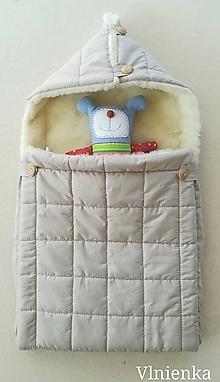 Textil - RUNO SHOP fusak pre deti do kočíka 100% ovčie runo MERINO TOP super wash ELEGANT SAND piesková - 10048009_