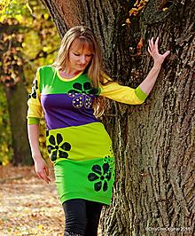 Šaty - Dámske šaty mini, šité, maľované TYCHÉ - 10046907_