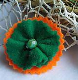 Odznaky/Brošne - brož smaragdový kvietok - 10047834_