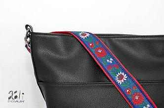 Iné tašky - Folk popruh na kabelku šírky 4 cm (Čevený popruh s modrou krojovou stuhou) - 10045945_