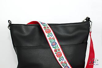 Iné tašky - Folk popruh na kabelku šírky 4 cm (Červený popruh s bielou krojovou stuhou) - 10045979_