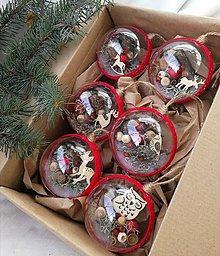 Dekorácie - Vianočné gule 6 ks Lesné kráľovstvo v červenom - 10048407_