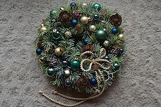 Dekorácie - Vianočný veniec Tyrkysovo-modrý - 10046189_