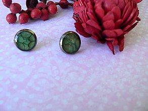 Náušnice - Puzety zelenkavé 10 mm - 10048490_
