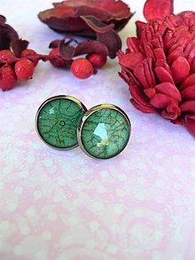 Náušnice - Puzety zelenkavé 12 mm - 10048613_