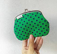 Peňaženky - Peňaženka XL Zelená s bodkami - 10044492_