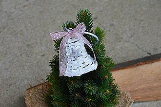 Dekorácie - Vianočný zvonček s hviezdičkou na stromček - ružovosivá mašlička - 10045843_