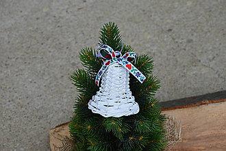 Dekorácie - Vianočný zvonček s hviezdičkou na stromček - ružovosivá mašlička - 10045952_