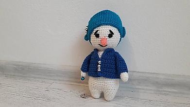 Hračky - snehuliačik tm. modrý kabátik - 10048034_