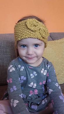 Detské čiapky - pletená čelenka - 10053110_