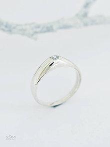 Prstene - 925/1000 Strieborný prsteň zásnubný s prírodným diamantom 3mm - 10051036_