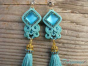 Náušnice - Tassels collection...soutache (Turquoise/Gold) - 10051872_