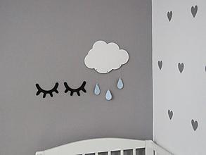 Detské doplnky - Drevený obláčik na stenu (Biely oblak + farebné kvapky) - 10049494_