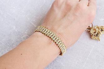 Náramky - šitý náramok CLARISSA (ivory/gold - Ag 925) - 10048761_
