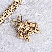 Náušnice - šité náušnice CLARISSA (ivory/gold - Ag 925) - 10048775_