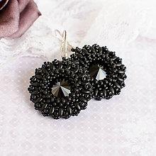 Náušnice - šité náušnice POSITIVE DAY (Čierna - Ag 925) - 10049654_