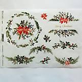 - Ryžový papier na decoupage -A4-R1476 - Vianoce, imelo - 10051004_