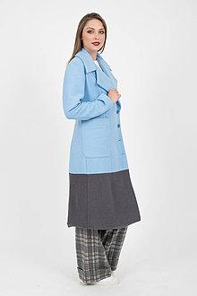 Kabáty - MIESTNY midi kabát modro/šedý - 10051779_