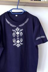 Oblečenie - pánske tričko inšpirované modrotlačou - 10052039_