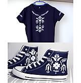 Tričká - tričko + vysoké tenisky inšpirované modrotlačou - 10053015_