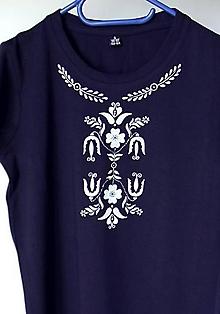 Tričká - dámske tričko inšpirované modrotlačou - 10052072_