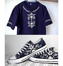 Tričká - tričko + nízke tenisky inšpirované modrotlačou - 10052895_