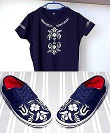 Tričká - tričko + plátenky inšpirované modrotlačou - 10052963_