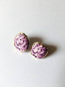 Náušnice - fialové so štruktúrou - 10052856_