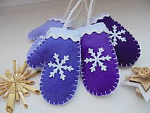 Dekorácie - Vianočné rukavičky - fialová sada - 10049749_