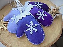 Dekorácie - Vianočné rukavičky - fialová sada - 10049752_