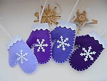 Dekorácie - Vianočné rukavičky - fialová sada - 10049753_