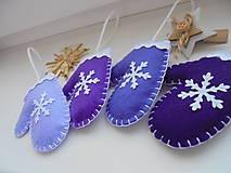 Dekorácie - Vianočné rukavičky - fialová sada - 10049777_