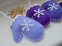 Dekorácie - Vianočné rukavičky - fialová sada - 10049778_