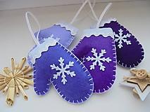 Dekorácie - Vianočné rukavičky - fialová sada - 10049779_