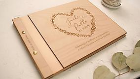 - Svadobná kniha drevo, papier a koža (50 listov 300g matný (na lepenie fotiek)) - 10049647_