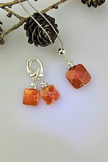 Sady šperkov - dračí achát náušnice a prívesok v striebre - 10052438_