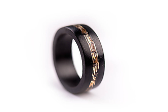 Prstene - Drevený prsteň Eben & Bronz - 10050227_