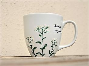 Nádoby - Maľovaný porcelánový hrnček - Bylinky (Rebríček obyčajný) - 10052325_