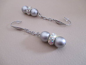 Náušnice - Náušnice z chirurgickej ocele s perlami a štrasom - 10050810_