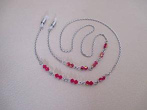 Iné šperky - Swarovski - retiazka na okuliare - chirurgická oceľ - červená s pokovom - 10050908_