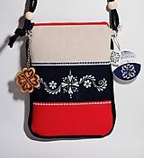 Taštičky - Mini kabelka modrotlač modro-bielo-červená - 10052870_