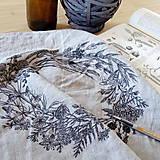 Úžitkový textil - Ľanový vankúš - ručne maľovaná perokresba - 10051074_