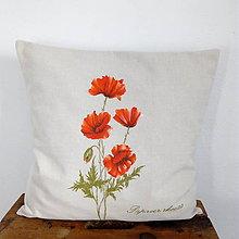 Úžitkový textil - Ručne maľovaný vankúš maky - 10050704_