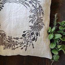 Úžitkový textil - Ľanový vankúš - ručne maľovaná perokresba - 10051023_