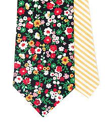 Doplnky - Pánska Twin kravata s kvetmi (čierná) - 10050460_
