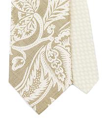 Doplnky - Pánska Twin kravata s kvetmi (béžová s ornamentom) - 10050469_
