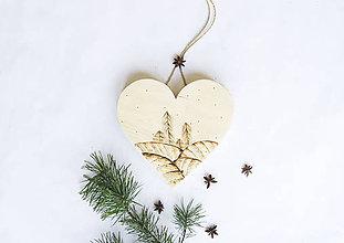 Dekorácie - Srdce na dvere - Prvý sneh - 10050446_