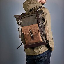 Batohy - Tmavo-olivový mestský batoh z kože a voskovanej tkaniny. Módny ruksak. - 10049289_
