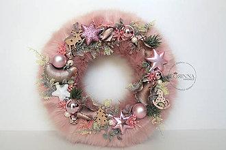 """Dekorácie - Vianocný kožušinový veniec  - """"KATIE"""" - 10049747_"""